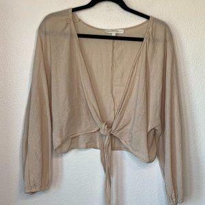 Lavender Sketch Cotton Tie Front Beige Crop Top